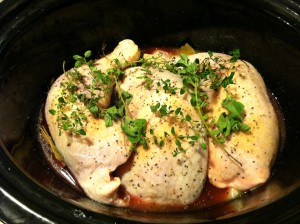 chicken legs in the crock pot.