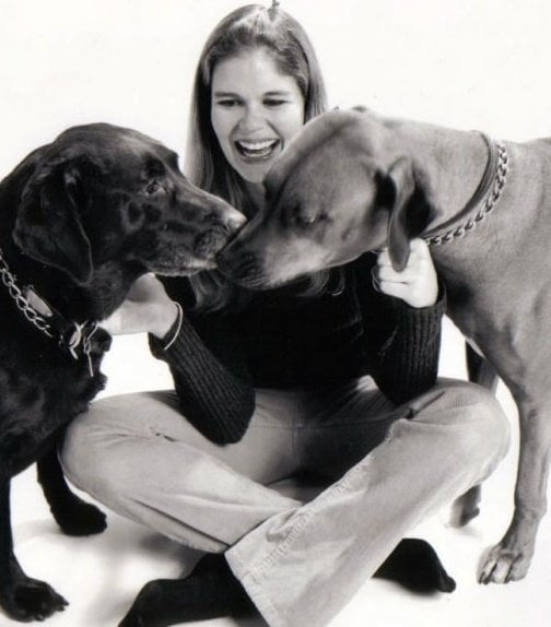 Sadie, my Ridgeback, with her companion Java, chocolate lab, in 2000.