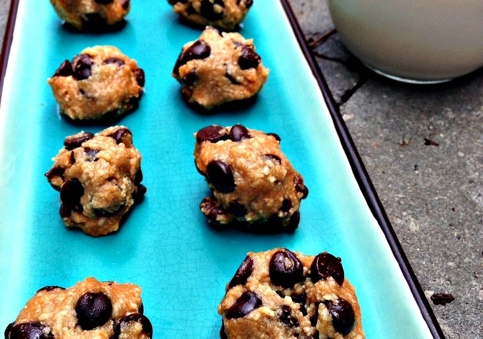 Chocolate Chip Cookie Dough Bites (Raw, Paleo, Vegan)